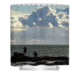 Shower Curtain featuring the photograph Rock Fishing by Pablo Avanzini