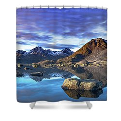 Rock Reflection Landscape Shower Curtain