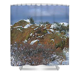 Shower Curtain featuring the photograph Rock Snow Sky by Jon Burch Photography