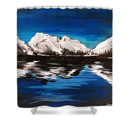 Shower Curtain featuring the painting Rocky Reflection  by Jennah Lenae