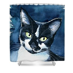 Rollie Tuxedo Cat Painting Shower Curtain