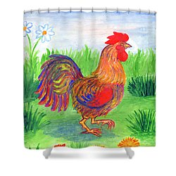 Rooster And Little Chicken Shower Curtain