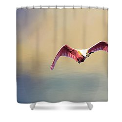Roseate Spoonbill At Sunrise Shower Curtain