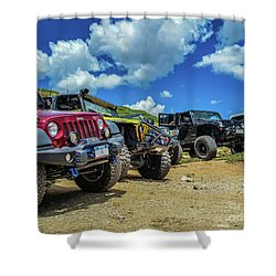Row Of Jeeps Shower Curtain