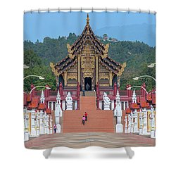 Shower Curtain featuring the photograph Royal Park Rajapruek Avenue To The Grand Pavilion Dthcm2584 by Gerry Gantt