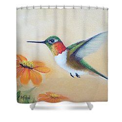 Rufous In Marigolds  Shower Curtain