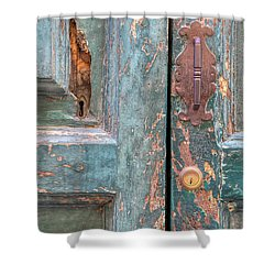 Rustic Green Door Of Cortona Shower Curtain