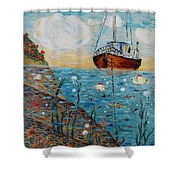 Shower Curtain featuring the painting Safe Harbor by Maria Langgle