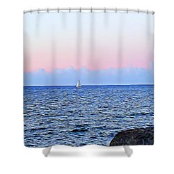 Shower Curtain featuring the digital art Sail Boat by Lucia Sirna