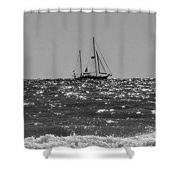 Sailboat In Black And White Shower Curtain