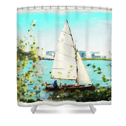 Sailboat On The River Watercolor Shower Curtain