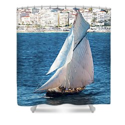 Sailing At Cannes Portrait Two Shower Curtain