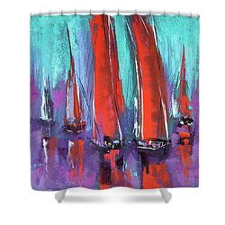 Shower Curtain featuring the pastel Sailing by David Patterson