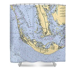 Sanibel And Captiva Islands Nautical Chart Shower Curtain