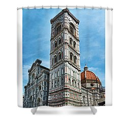 Santa Maria Del Fiore Cathedral Doorway And Bell Tower Shower Curtain