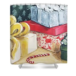 Shower Curtain featuring the painting Santa Was Here by Maria Langgle