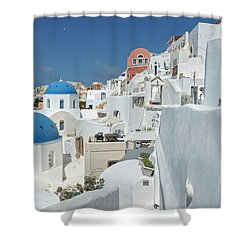 Shower Curtain featuring the photograph Santorini And Up by Kay Brewer