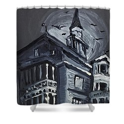 Shower Curtain featuring the painting Scary Old House by Maria Langgle