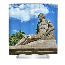 Shower Curtain featuring the photograph Sculpture Of Gentleman On The Montjuic Hill In Spain by Eduardo Jose Accorinti