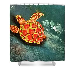 Shower Curtain featuring the painting Sea Turtle  by Jennah Lenae