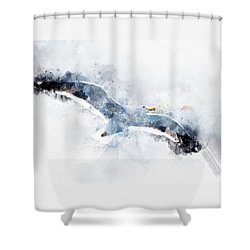 Seagull In Flight With Watercolor Effects Shower Curtain