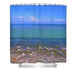 Shower Curtain featuring the mixed media Season Of Blue Water 4  by Lynda Lehmann
