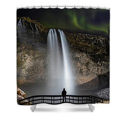 Shower Curtain featuring the photograph Seljalandsfoss Northern Lights Silhouette by Nathan Bush
