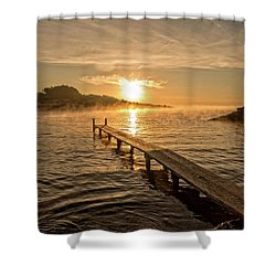 Sespanyol Beach In Ibiza At Sunrise, Balearic Islands Shower Curtain