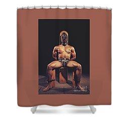 Sexy Man Tiedup On A Bdsm Chair Shower Curtain