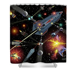 Sferogyls Space Battle Group Shower Curtain