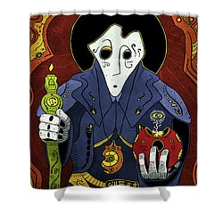 Shower Curtain featuring the painting Shadow Priest by Sotuland Art