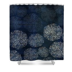 Shibori Sea Urchin Burst Pattern Dark Denim Shower Curtain