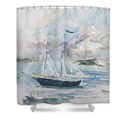 Ship Sketch Shower Curtain