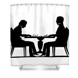 Silhouette Of Chess Players, Around 1845 Shower Curtain