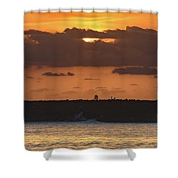 Silhouettes, Breakwall And Sunrise Seascape Shower Curtain