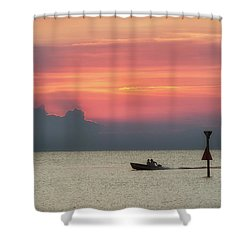 Shower Curtain featuring the photograph Silhouette's Sailing Into Sunset by Nathan Bush