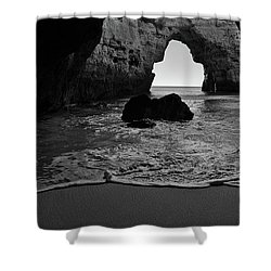 Silky Waves In Monochrome Shower Curtain