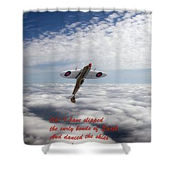 Shower Curtain featuring the photograph Silver Spitfire - Slipping The Surly Bonds ... by Gary Eason
