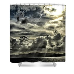 Shower Curtain featuring the photograph Silver Sun Over St. Lucia by Bill Swartwout Fine Art Photography