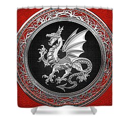 Silver Winged Norse Dragon - Icelandic Viking Landvaettir On Black And Silver Medallion Over Red  Shower Curtain