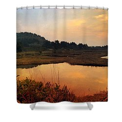 Shower Curtain featuring the digital art Sitka Sedge Sand Lake Eve by Chriss Pagani