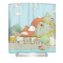 The Sleeping Fox Shower Curtain