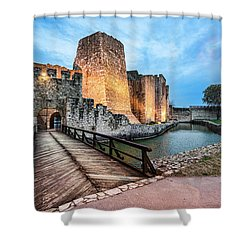 Smederevo Fortress Gate And Bridge Shower Curtain