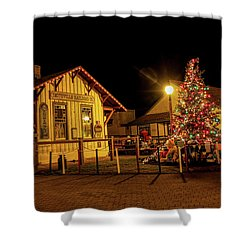 Shower Curtain featuring the photograph Smithville Railroad Christmas Tree by Kristia Adams