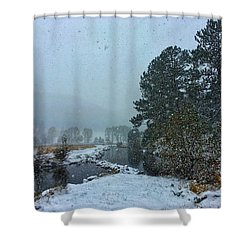 Shower Curtain featuring the photograph Snowstorm At The Lake by Dan Miller