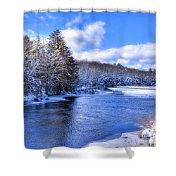 Shower Curtain featuring the photograph Snowy Banks Of The Moose River by David Patterson