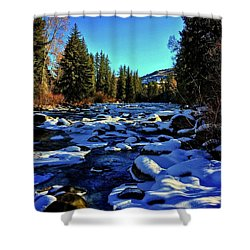 Shower Curtain featuring the photograph Snowy Eagle River by Dan Miller