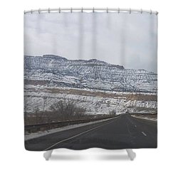 Snowy Mountain Road Shower Curtain