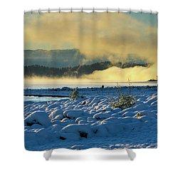 Snowy Shoreline Sunrise Shower Curtain