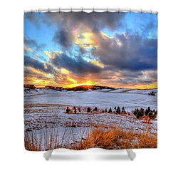 Shower Curtain featuring the photograph Snowy Sunset by David Patterson